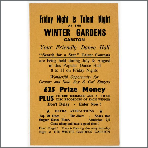 B24949 - Bob Wooler 1960s Search For A Star Winter Gardens Garston Promotional Handbill (UK)