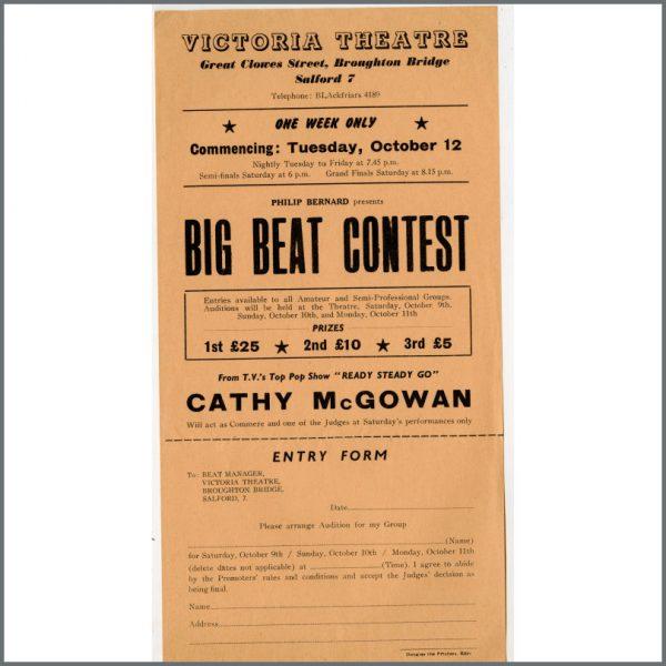 B24951 - Bob Wooler 1965 Victoria Theatre Big Beat Contest Handbill And Entry Form (UK)