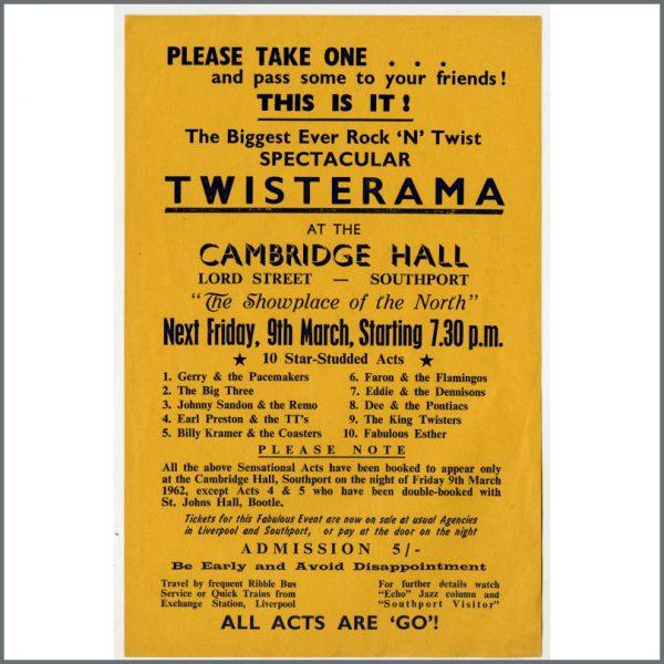 B24952 - Bob Wooler 1962 Twisterama Cambridge Hall Southport Concert Handbill (UK)