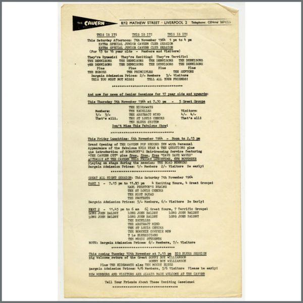 B24955 - Bob Wooler 1964 Cavern Club Sessions Handbill (UK)