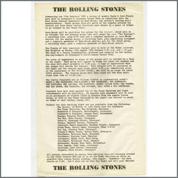B24956 - Bob Wooler 1964 Beat Group Contest Tower Ballroom Rolling Stones Handbill (UK)