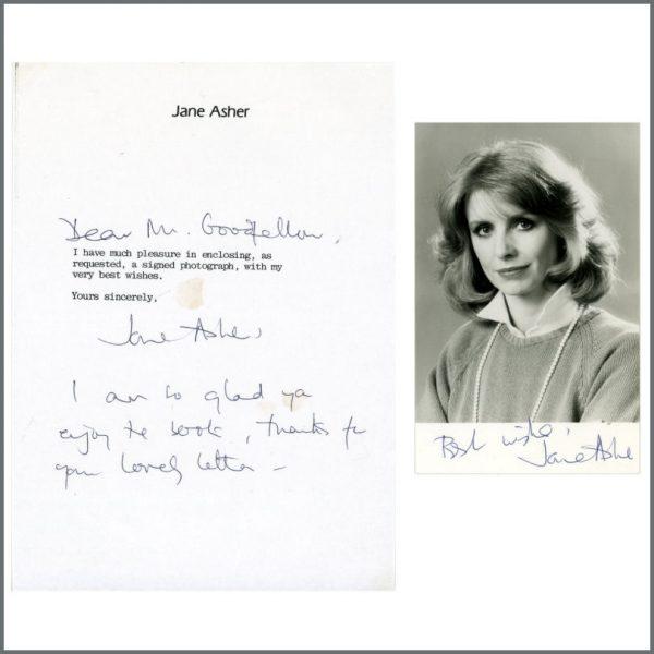 B24991 - Jane Asher Signed Letter & Photograph (UK)