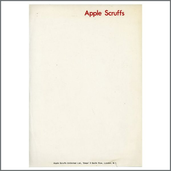 B25100 - Apple Scruffs Unlimited 1960s/1970s Letterhead Paper (UK)