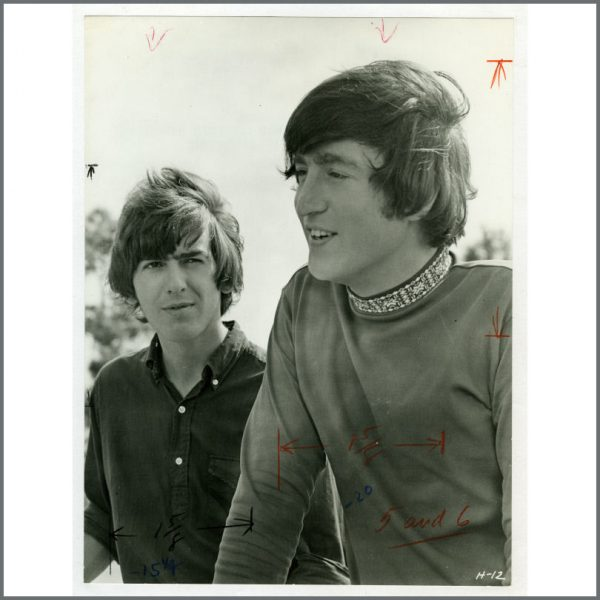 B25155 - George Harrison & John Lennon 1965 Bahamas Vintage Photograph (USA)