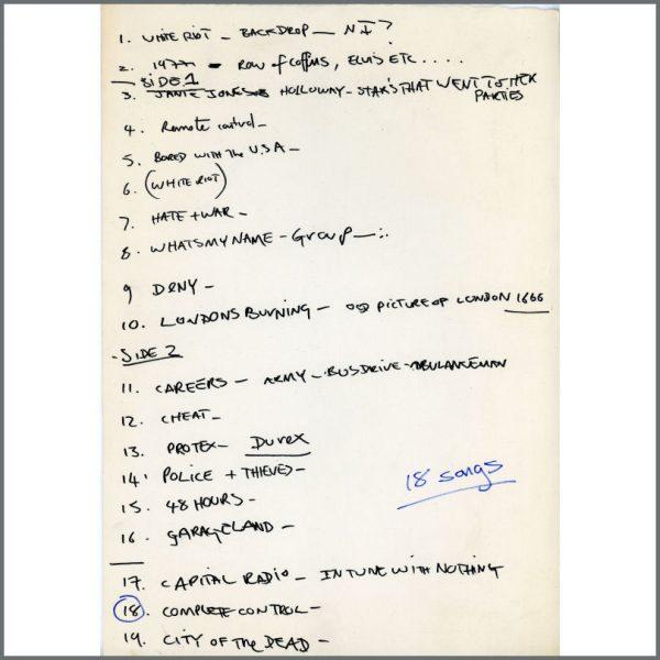 B25181 - The Clash Paul Simonon 1977 Handwritten Song List (UK)