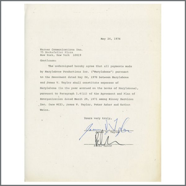 B25261 - James Taylor Peter Asher 1976 Autographed Contract (USA)