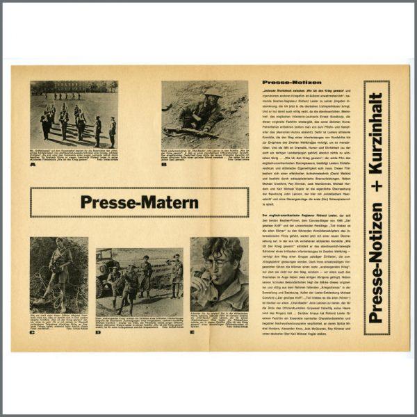 B25305 - John Lennon 1966 How I Won The War Press Notes Leaflet (Germany)