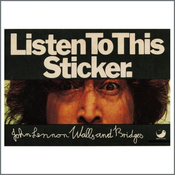B25313 - John Lennon 1974 Apple Records Walls And Bridges Promotional Sticker