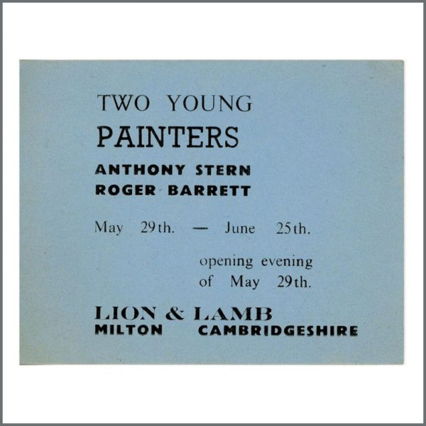 B25333 - Pink Floyd Syd Barrett 1964 Two Young Painters Art Exhibition Ticket (UK)
