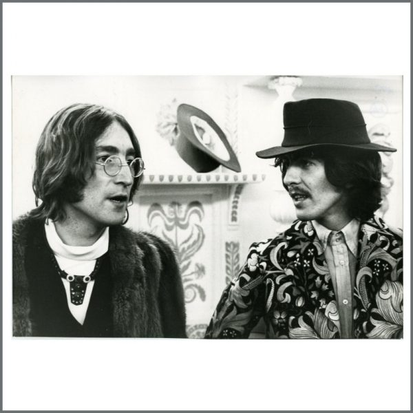B25399 - John Lennon & George Harrison 1968 Apple Tailoring Launch Dezo Hoffmann Vintage Photograph (UK)