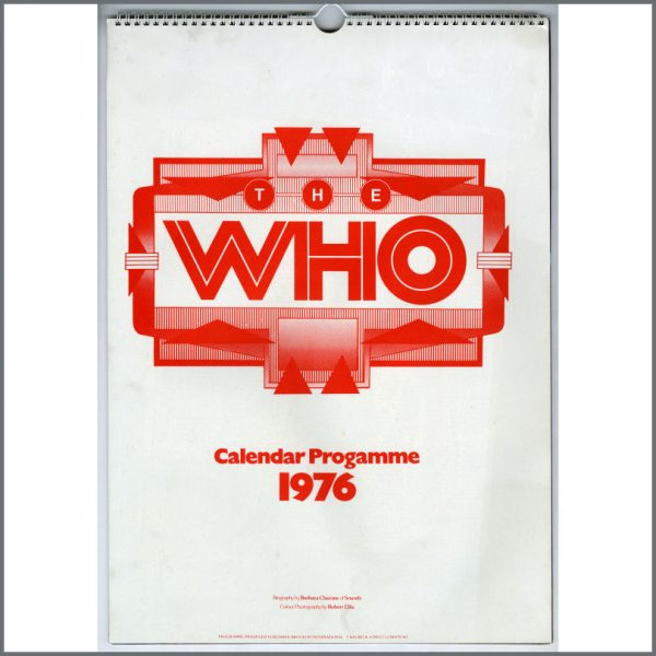 B25412 - The Who 1975/1976 Calendar Tour Programme (UK)
