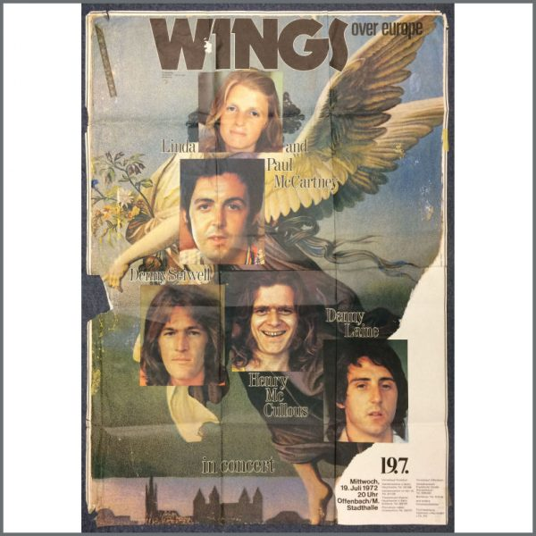 B25445 - Paul McCartney And Wings 1972 Offenbach Stadium Wings Over Europe Concert Poster (Germany)