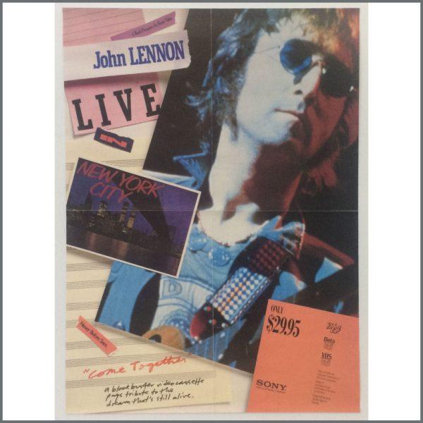 HIDDEN PAUL 30.06.2017 B25553 - John Lennon 1986 Live In New York City VHS Promotional Poster (USA)