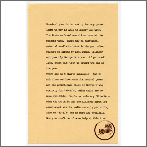 B25562 - Dark Horse Records 1977 Printed Covering Letter (UK)