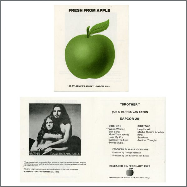 B25631 - Lon & Derrek Van Eaton 1973 Brother Fresh From Apple Promo Leaflet (UK)