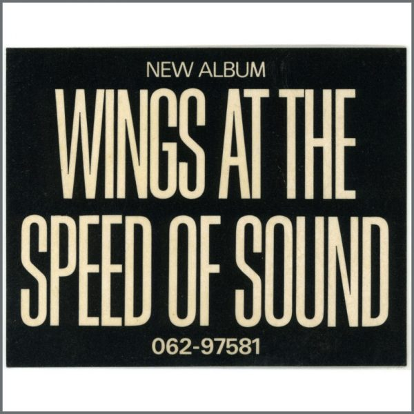 B25637 - Wings 1976 At The Speed Of Sound Unused EMI Promotional Sticker