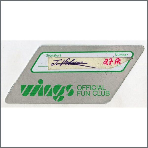 B25778 - Paul McCartney 1970s Wings Fun Club Membership Card (UK)