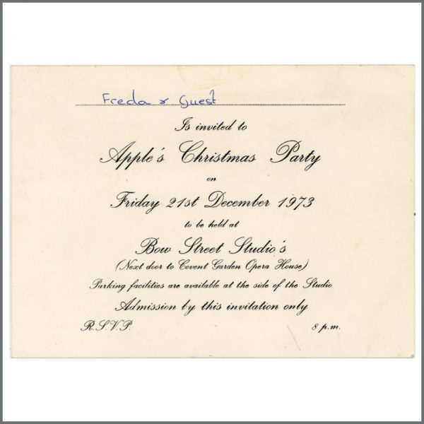 B25808 - Freda Kelly's 1973 Beatles Apple Christmas Party Invitation (UK)