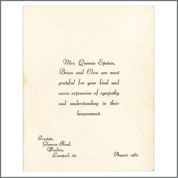 B25811 - Brian Epstein Family Acknowledgement Of Bereavement Card 1967 (UK)