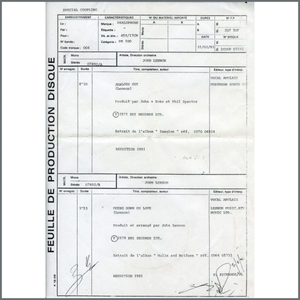 B25853 – John Lennon 1981 Jealous Guy Pathé Marconi White Label Test Pressing (France) 4