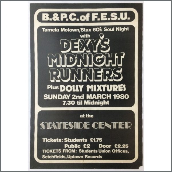 B25858 - Dexy's Midnight Runners 1980 Bournemouth Stateside Center Concert Poster (UK)