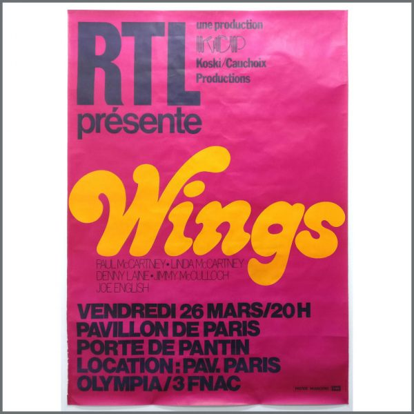B25866 - Paul McCartney & Wings 1976 Wings Over The World Tour Promotional Poster (France)