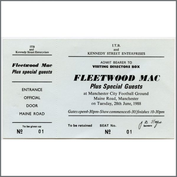B25873 - Fleetwood Mac 1988 Manchester City Football Ground Unused Concert Ticket (UK)