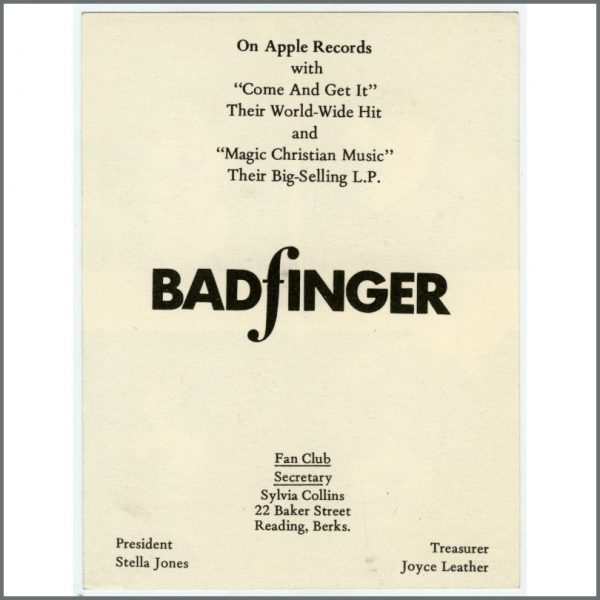 B25887 – Badfinger 1970 Fan Club Apple Records Promotional Card (UK) 2