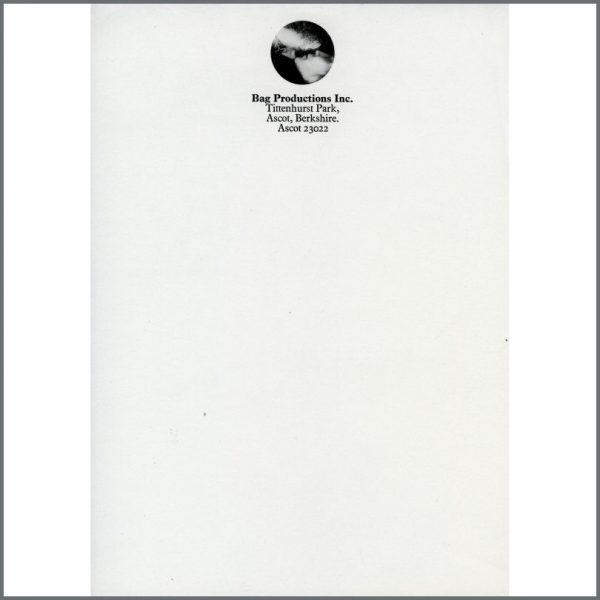 B25927 - John Lennon Yoko Ono 1960s Bag Productions Inc. Unused Letterhead Paper (UK)