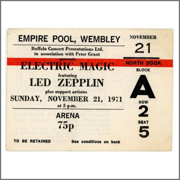 B25946 - Led Zeppelin 1971 Empire Pool Wembley Ticket Stub (UK)