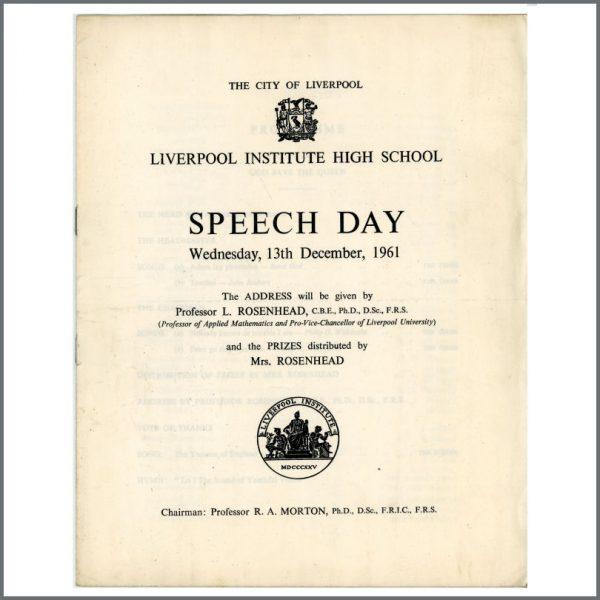 B25960 - Paul McCartney George Harrison Related 1961 Liverpool Institute Speech Day Programme (UK)