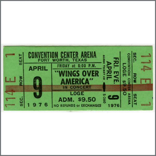 B25967 - Paul McCartney & Wings 1976 Wings Over America Fort Worth Texas Unused Ticket (USA)