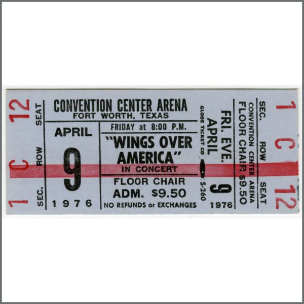 B25968 - Paul McCartney & Wings 1976 Wings Over America Fort Worth Texas Unused Ticket (USA)