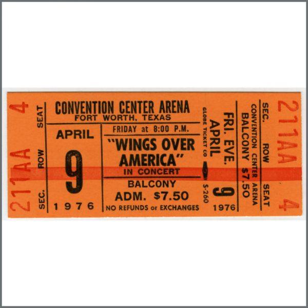 B25970 - Paul McCartney & Wings 1976 Wings Over America Fort Worth Texas Unused Ticket (USA)