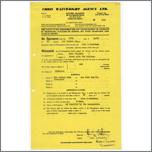 B25974 - Gene Vincent 1963 Cavern Club Performance Contract (UK)