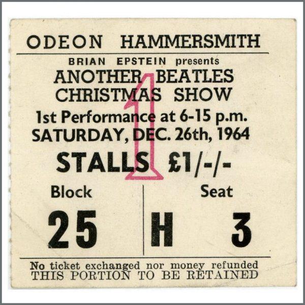 B25983 - The Beatles 1964 Odeon Hammersmith Ticket Stub (UK)