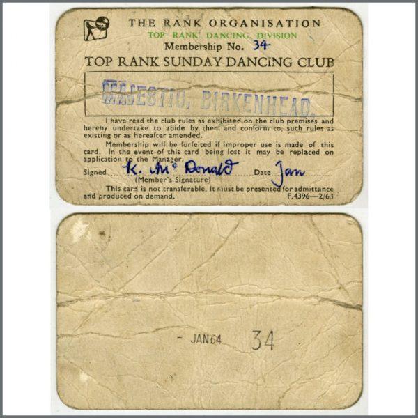 B26017 - Majestic Ballroom Birkenhead 1964 Top Rank Sunday Dancing Club Membership Card (UK)