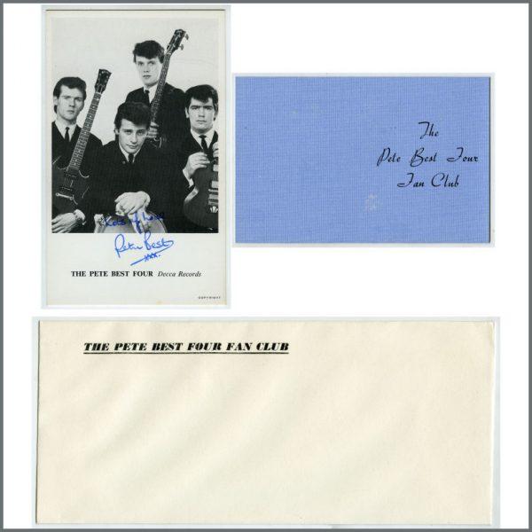 B26036 - Pete Best Signed 1960s Decca Record Promotional Card & Fan Club Memorabilia (UK)