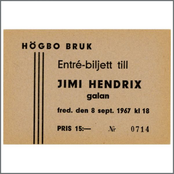 B26075 - The Jimi Hendrix Experience 1967 Unused Ticket (Sweden)