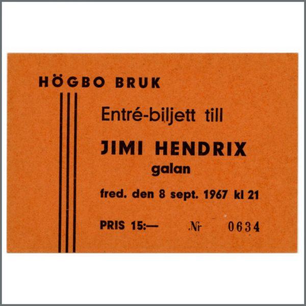 B26076 - The Jimi Hendrix Experience 1967 Unused Ticket (Sweden)