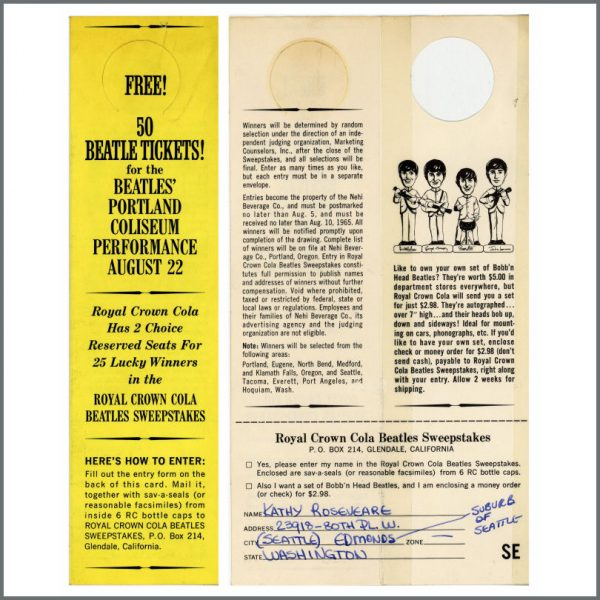 B26107 - Royal Crown Cola 1965 Portland Beatles Ticket Give Away Promo Hanger (USA)