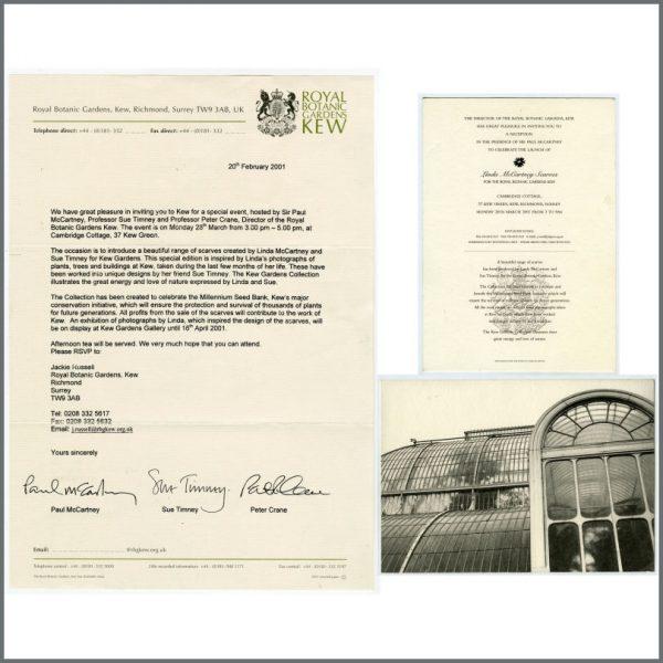 B26225 - Paul McCartney 2001 Linda McCartney Scarves Kew Gardens Launch Invitation & Letter (UK)