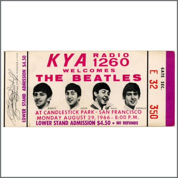 B26245 - The Beatles 1966 San Francisco Candlestick Park Unused Complete Concert Ticket (USA)