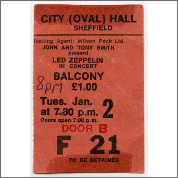B26257 - Led Zeppelin 1973 Sheffield City Hall Concert Ticket Stub (UK)