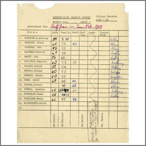 B26296 - John Lennon Related Cynthia Powell (Lennon) 1959 Liverpool College Of Art Examination Results Sheet (UK)