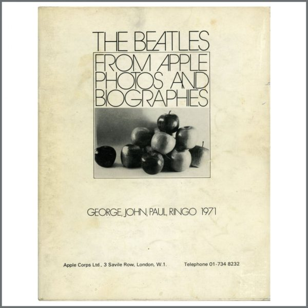 B26309 - The Beatles 1971 From Apple Photos And Biographies Press Book (UK)