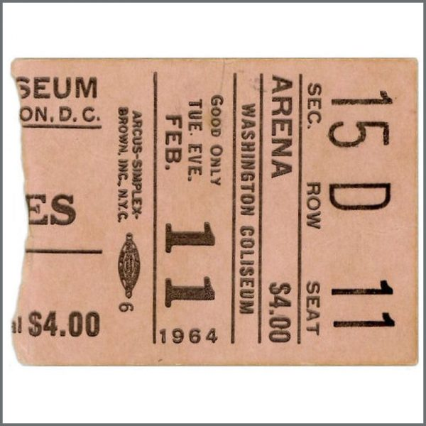 B26337 - The Beatles 1964 First American Performance Washington Ticket Stub (USA)
