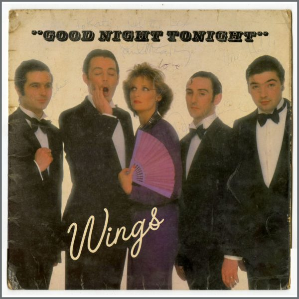 B26362 - Paul McCartney & Wings Autographed 1979 Goodnight Tonight 12 Inch Factory Sample Not For Sale Single (UK)