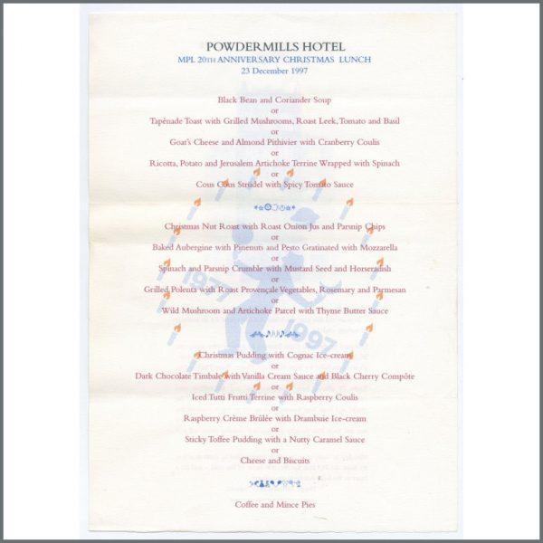B26379 - Paul McCartney 1997 MPL 20th Anniversary Christmas Lunch Menu (UK)