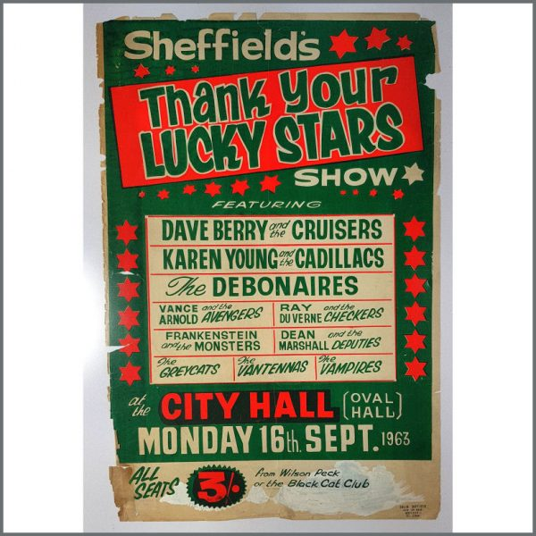 B26420 - Vance Arnold & The Avengers 1963 Thank Your Lucky Stars Sheffield City Hall Concert Poster (UK)